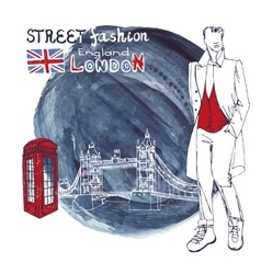 London Fashion dude menWatercolor ink splash vector
