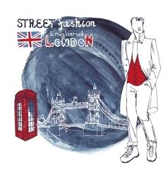 London fashion dude menwatercolor ink splash vector