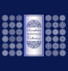 Mandala snowflakes on blue background intricate vector