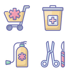 Medical accessories flat icons pack vector