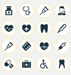 medicine icons set with medicine rack pellets vector image