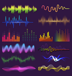 Music waves of sound on radio audio vector