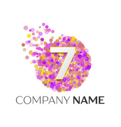 Number seven logo red particles and bubble dots vector