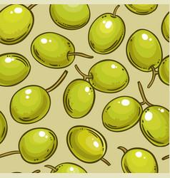 olive fruit pattern on color background vector image
