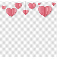 Paper hearts border transparent background vector
