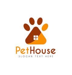Pet paw house logo design template vector