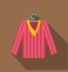Pink striped pajama shirt icon flat style vector