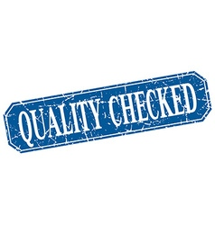 Quality checked blue square vintage grunge vector