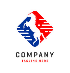 Rectangular horse logo design template vector