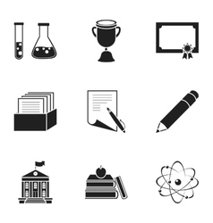 School set icons in black style Big collection of vector