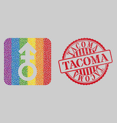 Scratched tacoma stamp seal and mosaic third vector