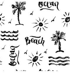 Seamless abstract summer brush pattern vector