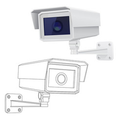 Security cctv camera outline drawing and 3d model vector