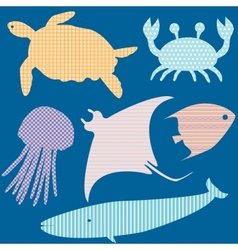 set 2 fish silhouettes with simple patterns vector image