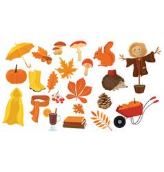 Set cartoon elements autumn collection vector
