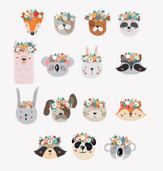 set cute cartoon animals with flower crowns vector image
