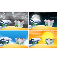 set of beach resort scene different weather vector image