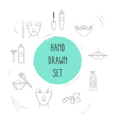 Set of beauty icons line style symbols with face vector