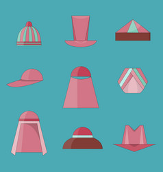 set of hats icons flat style with outlines vector image
