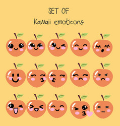 set of kawaii emoticons cute peach vector image