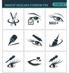 Set of modern icons Makeup mascara eyebrow vector image vector image