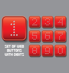 Set of stylized buttons with different digit vector