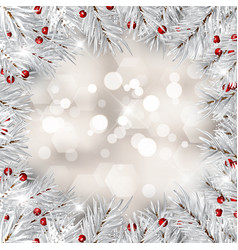silver christmas tree branches and red berries vector image
