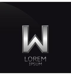Silver W Letter emblem vector