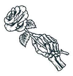 Skeleton hand holding rose flower vector