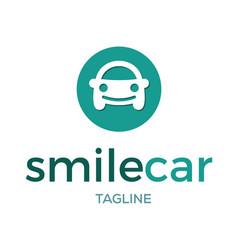 smile car logo design vector image