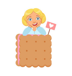 smiling little girl with a huge biscuit a vector image