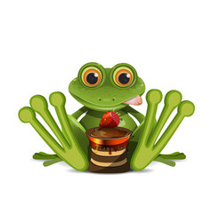 Stock frog with cake vector