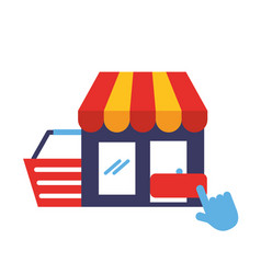 Store basket clicking online shopping vector