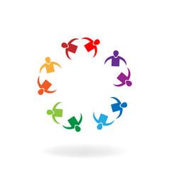 teamwork partner group circle vector image