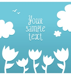 template with white flowers on blue background vector image