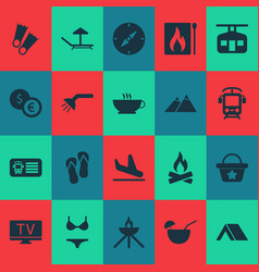 Tourism icons set with shower flippers swimsuit vector