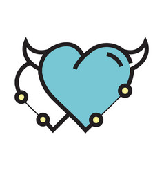 twins heart devil pen tool style blue vector image