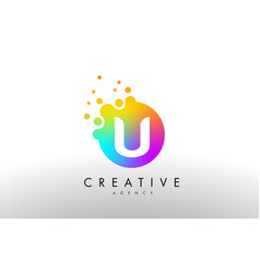 U rainbow dots letter logo letter design with vector