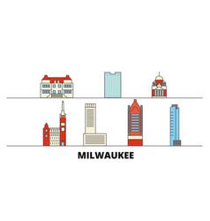 United states milwaukee city flat landmarks vector