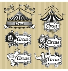 Vintage circus emblems logos labels set vector
