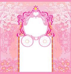 Vintage decorative pink carriage invitation vector