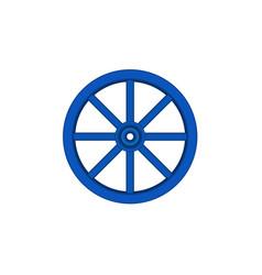 Vintage wooden wheel in blue design vector