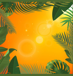 web summer banner green palm leaves template on vector image