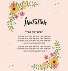 Wedding invitation greeting card template vintage vector