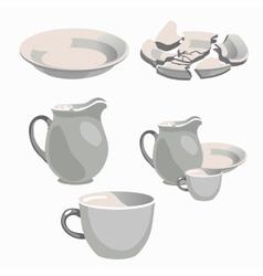 White porcelain kitchen utensils and broken plate vector