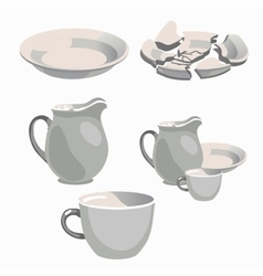 White porcelain kitchen utensils and broken plate vector image