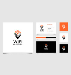 wifi location logo and business card vector image