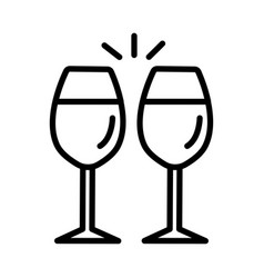 wine glasses icon on white background vector image