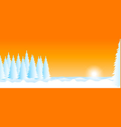 winter landscape with snow sunset and trees vector image