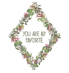 wreath with flowers and leaves isolated on white vector image